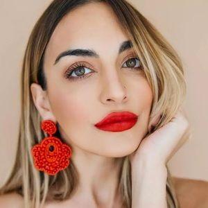 Brand new!!!  Gorgeous red beaded boho earrings